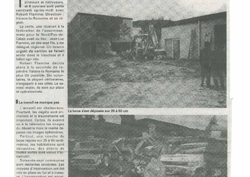 Intervention en 1992 pour sauver Vaison la Romaine de la Boue